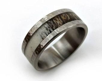 Antler Ring, Outdoorsman Ring, Outdoorsman Jewelry, Grand Mesa Antler, Hammered Metal, Titanium Band, Men's Ring, Ring Guard, Shielded Ring