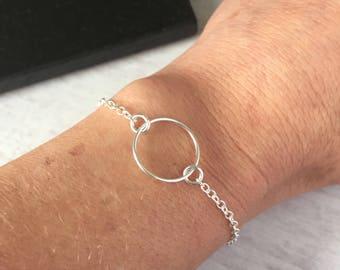 Sterling Silver Circle Bracelet/Karma Circle/Chain Bracelet/Minimal/Silver/Adjustable/Gift/Everyday/Boho/Beach/Festival/Summer/Bridal/UK