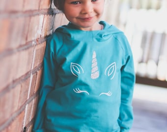 Hooded sweater for baby and toddler turquoise Cotton/spandex with applied vinyl Unicorn