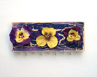 Necklace & Earring Hanger - Purple and Yellow Pansies #13-4