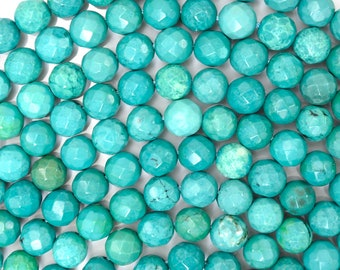 """6mm faceted green turquoise round beads 15.5"""" strand 37231"""