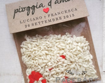 """10 sacchettini porta riso - Mod. """"Pioggia d'Amore"""""""