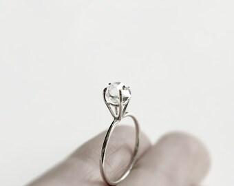 Auge - Herkimer Diamant Silber Ring - natürliche Herkimer Diamanten Sterling Silberring - einzigartige Engagement ring