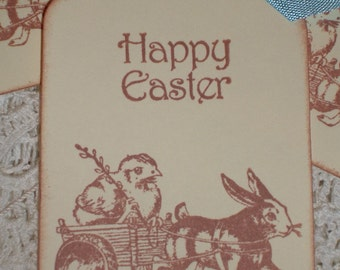 Easter Gift Tags - Victorian Bunny and Chick in Wagon - Set of Six