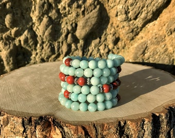 VIRGO Zodiac Bracelet | AMAZONITE & JASPER 108 Bead Mala for August September Birthday | Meditation Yoga Beads, Prayer Beads, 108 Mala Beads
