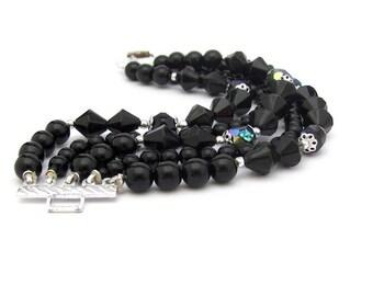 Vintage Black Bracelet, Vintage Japan Bracelet, Lucite beaded bracelet, multi strand bracelet, black aurora borealis, bold statement