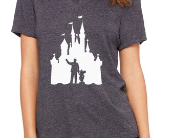 Disney Shirts Relaxed V-Neck Disneyland Castle Walt and Mickey Mouse Ladies V Neck Tee Disneyland Shirt Disney World Shirt