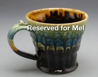 Reserved for Mel - Wide Flared Mug, Ebony Brown, Fern Green and Blue