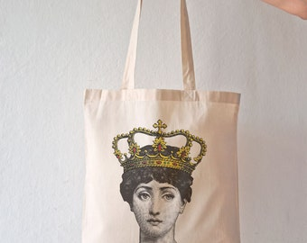 Lina Cavalieri queen tote bag-queen tote bag-Cavalieri crowned tote bag-Lina Cavalieri crowned bag-tote-design NATURA PICTA NPTB093