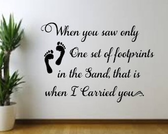 Footprints in the Sand vinyl decal, Wall Decal, Wall Sign, Home Decor, Home Decal, Religious Decal, Wall Mural, Daily Bread,