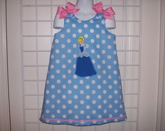 Princess Cinderella Applique Monogram Blue Polka Dot A-line Dress starting at size 3 mo going up to 6X