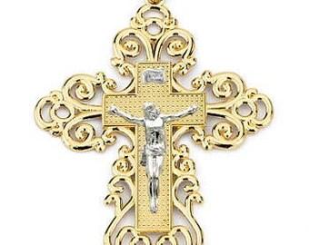14k gold two tone Lace Crucifix, Religious pendant, Crucifix