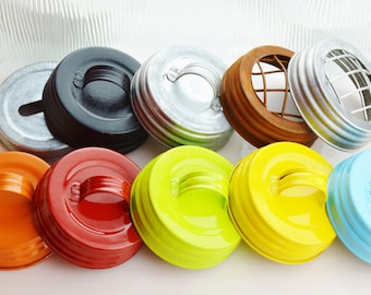Mason Jar Lid with Handle ~  12 Black In stock or 4 Galvanized ~ Only 1 left of each the Colors shown ~ Color Choice at checkout