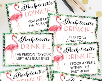 Bachelorette Party Game - Drink If Game - Printable Bachelorette Game - Bachelorette Party - Flamingo Tropical - Bachelorette Drinking Game