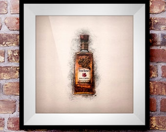 Four Roses Single Barrel - Crosshatch Whisky Wall Art