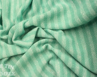 Green Striped French Terry - Cotton Spandex Blend / Terry / Sewing Supplies / Fabric / Striped Terry / Towel Fabric / Bathrobe Fabric / New