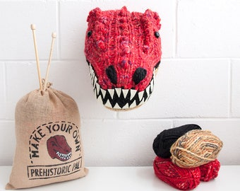 Faux Red T-Rex Knitting Kit - Make Your Own Prehistoric Pal - Taxidermy Trophy Head