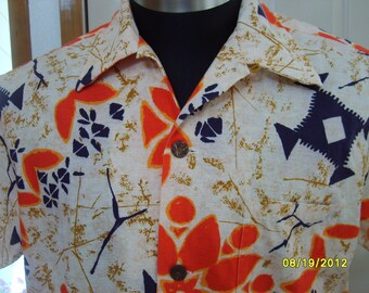 Vintage Aloha Shirt by Duke Kahanamoku Hawaiian print tapa fish, Hawaiian Shirt