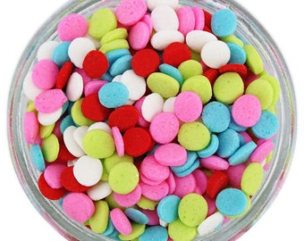 Lollipop Sequin Sprinkles - pretty bright polka dot sprinkles for decorating cupcakes, cakes, cakepops, cookies, and ice cream