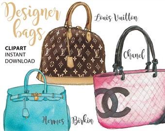 Handbag clipart Louis Vuitton Chanel Fashion illustration fashion graphics planner graphics Hermes purse clipart  glam decor Printablehenry