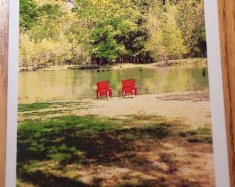 Adirondack chairs looking over pond Photo Note Cards  (Set of 6 cards and envelopes)