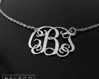 Custom Monogram Necklace, Monogram Necklace, Script Monogram Necklace, Personalized Monogram Necklace, Initial Necklace, Monogram Jewelry