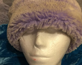 Faux fur & fleece hat warm soft covers ears flattering