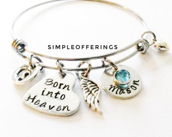 Born into Heaven Bracelet, Memorial Bracelet, Miscarry Keepsake, Miscarriage Jewelry, Infant Loss, Child Loss, Sympathy Gift, Personalized