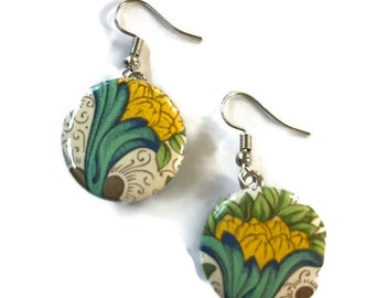 Snap Earrings - French Hook Blue Green Yellow Italian Paper Earrings- Compatible with Gingersnaps - Ginger Snaps -  Magnolia and Vine