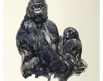 Grilla - original watercolor painting
