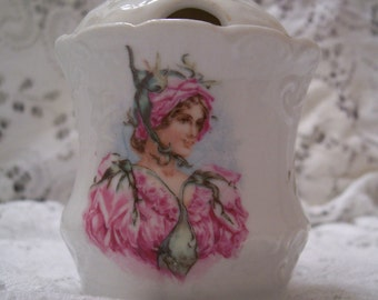 Antique china mustard pot with lid flowers, lady design, shabby chic, cottage decor