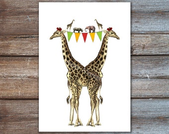 Giraffe Print - Giraffe Print Art Illustration Poster Digital Print Wall Art Wall Decor Wall Hanging