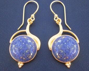 Lovely Blue Lapis Lazuli Handmade 925 Sterling Silver Gold Plated Dangle Earrings