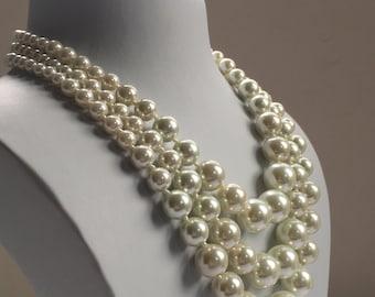Triple Row Goldtone Kiska Pearls Necklace