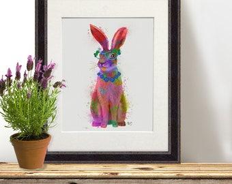 Woodland nursery decor - Rabbit full watercolor print - Woodland theme Whimsical art Hippie boho decor Office decor ideas Living room art