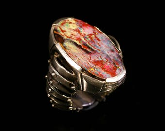 STELLARIUS RING 1.1 / Boulder Opal - Silver - Opal Ring - Cyber Goth - Statement Ring - Apocalyptic - Dark Fashion - Cyberpunk - Men Ring