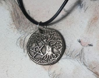 Unisex pendant, Goldcolor bronze Yggdrasil, the celtic tree of life+pentagramm ,black leather strap ( silver color bronze and copper too)