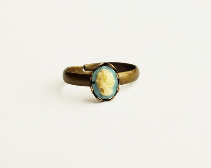 Tiny Blue Cameo Ring Victorian Stacking Ring Small Adjustable Cameo Ring Tiny Stackable Ring Victorian Cameo Jewelry
