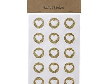 White Craft Gold Glitter Heart Stickers