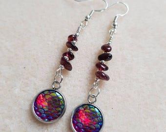 Red glow mermaid scale earrings with garnet gemstones. Red earrings, devilish, naughty woman, temptress mermaid earring, gift for her, lover