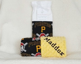 Pittsburgh Pirates Baby Blanket Toddler Minky NAME Embroidered Gift Set Large Minky PERSONALIZED Baby Boy White Sox Angels Reds Tigers