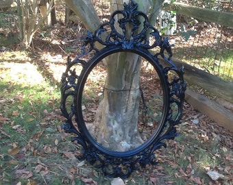 Black Oval Ornate Frame / Large Open Back Gallery Frame with Free Glass Optional /  Photo Prop / Baroque Black Frame
