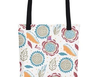 "Tote bag ""Floral pattern"", 15"" x 15"", weather resistant, dual handles"