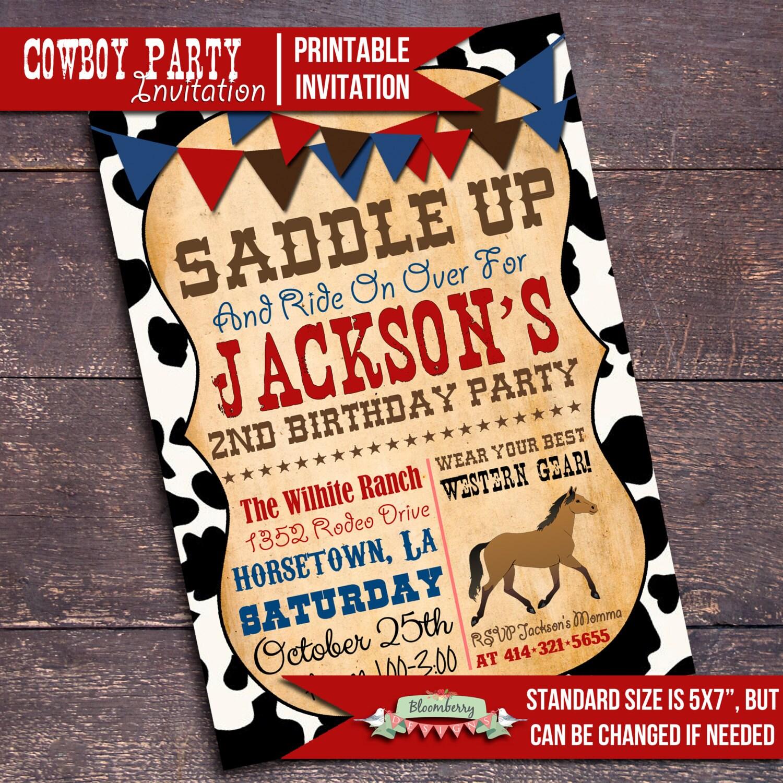 Printable Cowboy Party Invitation Western Party Invitation