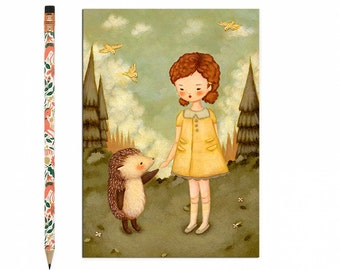 Hedgehog Postcard, Hedgehog Card, Hedgehog, Animal Art, Cute, Girl, Woodland, Forest, Woods