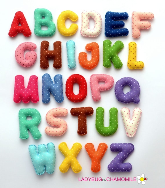 Magnet alphabet from polka dot felt fabric felt letters for Polka dot felt fabric