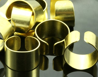 15 pcs 20 x 13 mm (hole 19 mm US 9 ) raw brass adjustable knuckles ring, industrial brass charms, findings spacer bead Ri19-1121