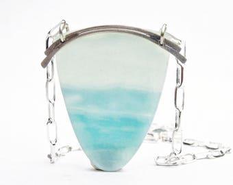 "Amazonite Shield Necklace, Amazonite Pendant Necklace in Sterling, ""Oceanview"" Amazonite Necklace"