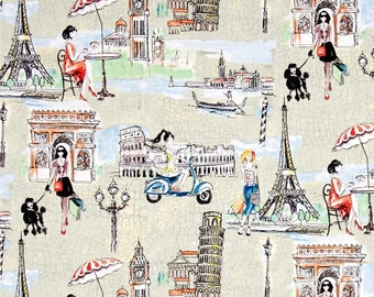 Bridget's Travel Multi-Color Fabric by the yard Springs Creative Paris Theme Cotton Fabric Bridget's Travel Fabric Springs Creative Cotton