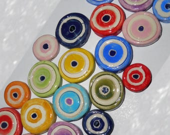 Ceramic Eye Beads 3cm Handmade Evil Eye Beads in 8 Colors - 20 pcs - Greek Traditional for Good Luck - Evil Eyes - Handmade Ceramic Beads